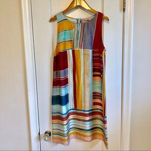 LOFT retro color block multicolor sheath dress M